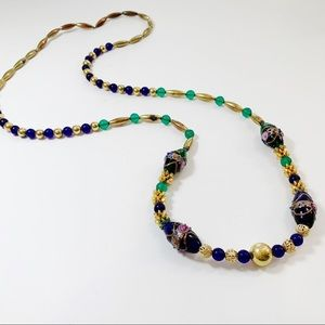 Vintage Long Glass Beaded Unique Necklace J44